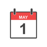 May 1 calendar icon. Labour day, Vector illustration in flat style Royalty Free Stock Photography