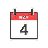 May 4 calendar icon. Vector illustration in flat style Stock Photography