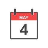 May 4 calendar icon. Vector illustration in flat style Stock Illustration