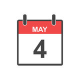 May 4 calendar icon. Vector illustration in flat style. May 4 calendar icon. Vector illustration in flat style Stock Photo