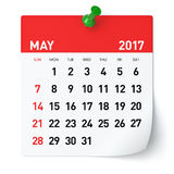 May 2017 - Calendar. Isolated on White Background. 3D Illustration Stock Photo