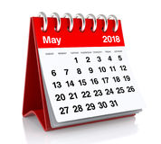 May 2018 Calendar. Isolated on White Background. 3D Illustration Stock Photography