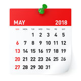 May 2018 - Calendar royalty free stock images