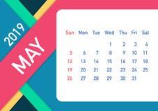 May 2019 Calendar Leaf. Calendar 2019 in flat style. A5 size. Vector illustration. May 2019 Calendar Leaf. Calendar 2019 in flat style. A5 size. Vector stock royalty free illustration