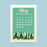 May 2017 calendar with lily of the valley. Vector illustration Vector Illustration