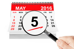 5 may 2016 calendar with magnifier. Ascension Day Concept. 5 may 2016 calendar with magnifier on a white background royalty free illustration