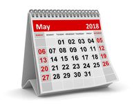 May 2018 - Calendar. May 2018 , This is a 3d rendered computer generated image. Isolated on white Royalty Free Stock Photography