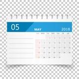 May 2018 calendar. Calendar planner design template. Week starts. On Sunday. Business vector illustration Royalty Free Stock Photo