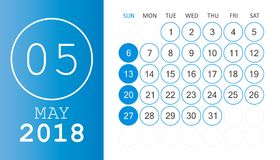 May 2018 calendar. Calendar planner design template. Week starts. On Sunday. Business vector illustration Stock Images
