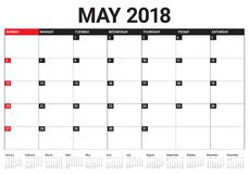 May 2018 calendar planner vector illustration. Simple and clean design Stock Images