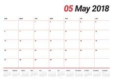 May 2018 calendar planner vector illustration Royalty Free Stock Image
