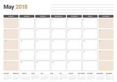 May 2018 calendar planner vector illustration Stock Photography