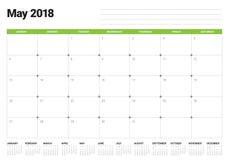 May 2018 calendar planner vector illustration Royalty Free Stock Photos