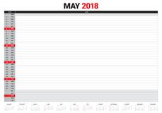 May 2018 calendar planner vector illustration Royalty Free Stock Images