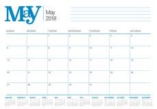 May 2018 calendar planner vector illustration Stock Image