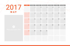 May 2017 calendar. With space for picture Royalty Free Stock Photo