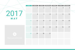 May 2017 calendar. With space for your pictures Royalty Free Stock Photography