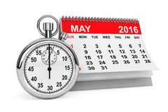 May 2016 calendar with stopwatch. 2016 year calendar. May calendar with stopwatch on a white background Stock Photography