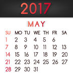 May 2017 calendar vector in a flat style in red tones. Week starts on Sunday Royalty Free Stock Image