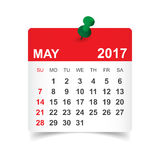 May 2017 calendar. May 2017. Calendar vector illustration Stock Image