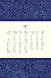 May 2017 calendar. May 2017 vector calendar over blue lacy doodle hand drawn background, week starting from Sunday Stock Photography