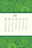 May 2016 calendar. May 2016 vector calendar over green lacy doodle hand drawn background, week starting from Sunday Stock Photography
