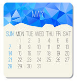 May 2017 calendar. May 2017 vector calendar. Week starting from Sunday. Contemporary low poly design in blue color vector illustration