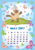May 2017 calendar. Wall calendar for May, 2017 with an amusing cat. Fun children`s illustration in cartoon style. Colorful background. Vertical orientation. Week Stock Photos