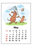 May 2018 calendar. Wall calendar for  may, 2018 with funny dogs. Fun children`s illustration in cartoon style. Colorful vector background. Vertical orientation Royalty Free Stock Photography