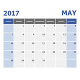 2017 May calendar week starts on Sunday. Stock vector Stock Images