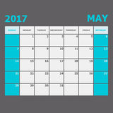 May 2017 calendar week starts on Sunday. Stock vector Royalty Free Stock Image