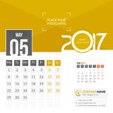 May 2017. Calendar 2017. May 2017. Calendar for 2017 Year. 2 Months on Page. Vector Design. Template with Place for Photo and Company Logo Royalty Free Stock Images