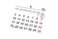 MAY calender. Over white background Stock Photography