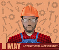 1 May card. Labor Day poster with worker man. Labor Day poster with worker man on the background of tools. Happy International Workers Day. 1 May. May Day. Labor royalty free illustration