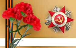 9 may carnation red flower star medal victory day. Greeting medal with inscription Patriotic war for great war veterans. Striped ribbon of St. George. 9 may stock illustration