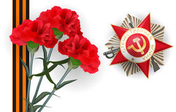 9 may carnation red flower victory day medal. Happy Victory Day red star card. Greeting medal with inscription Patriotic war for great war veterans. Striped stock illustration