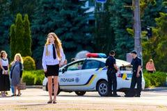 28-May-2016 Cherkassy, UkraineNew Ukraina policja zapewnia bezpieczeństwo miasto festiwal Zdjęcia Royalty Free