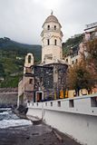 Vernazza Clock Tower and dome royalty free stock image