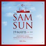19 May, Commemoration of Ataturk, Youth and Sports Day Turkey celebration card. 19 mayis Ataturk'u anma, genclik ve spor bayrami vector illustration. &# royalty free illustration
