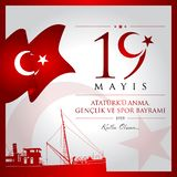 19 May, Commemoration of Ataturk, Youth and Sports Day Turkey celebration card. stock illustration