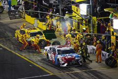 NASCAR: May 27 Coca-Cola 600. May 27, 2018 - Concord, North Carolina, USA: Kyle Busch 18 makes a pit stop during the Coca-Cola 600 at Charlotte Motor Speedway in royalty free stock image