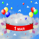 May 1 congratulatory card. Vector illustrations of May 1 congratulatory card with red banner hanging on multicolor balloons and lilacs branches on sky background vector illustration