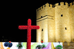 The May Cross near Roman Bridge, Cordoba, Spain Royalty Free Stock Photos