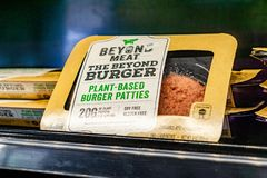 May 17, 2019 Cupertino / CA / USA - Beyond Meat Burger packages available for purchase in a store in San Francisco bay area royalty free stock photography