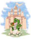 Mały czarodziejski smok i kasztel Fotografia Royalty Free