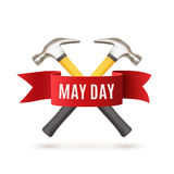 May Day background template. May Day. May 1st. Labor Day background with two hummers and red ribbon. Poster, greeting card or brochure template on white. Vector Stock Illustration