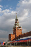 May Day celebration in Moscow. Saviors clock tower. Royalty Free Stock Image