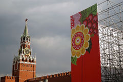 May Day celebration in Moscow. Saviors clock tower. Royalty Free Stock Photography
