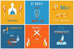 31 May Day Without Cigarettes Refuse Harmful Habit. 31 May day without cigarettes, refuse from harmful habit vector banners nicotine addiction reduce. World not royalty free illustration
