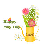 May Day Colorful Flower and Butterfly. Background Royalty Free Stock Image